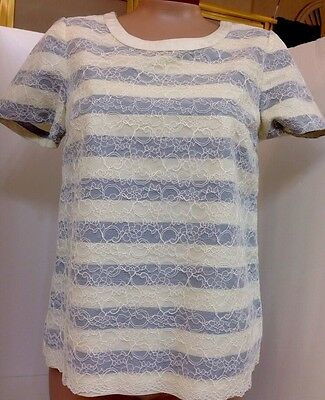 Marc By Marc Jacobs Top Ivory Lace Over Grey Stripe Shiortsleeve Size 2