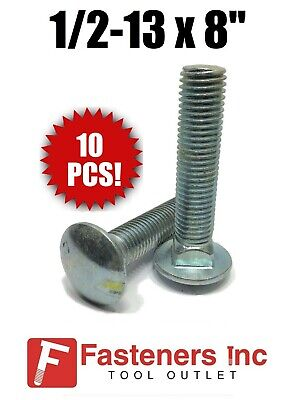 "(QTY 10) 1/2-13 x 8"" Carriage Bolt Zinc Plated A307 (6"" of Threads)"