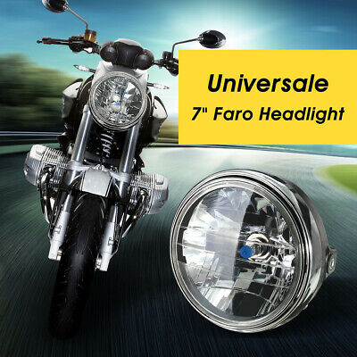 7 INCH  Motorcycle bike 12V Round Headlight Halogen H4 Bulb Head Lamp Side Mount