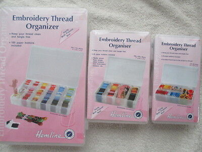 Hemline Embroidery Thread Organiser Floss Box with Bobbins Small Medium or Large