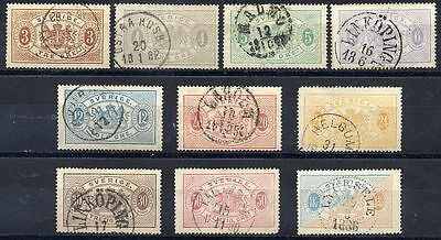 SWEDEN 1874 Official set of 10 perforated 14, fine used