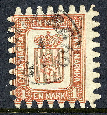 FINLAND 1867 1 Mk. brown/white roulette III, used