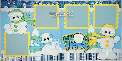 CraftEcafe Premade Scrapbook Pages Paper Piecing Snow Winter Snowman BLJgraves 3