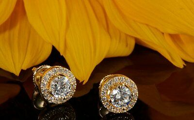 2.00ct Round Cut Beautiful Solitaire Stud Earrings 14k Solid Yellow Gold