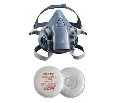 3M 7500 Silicone Half Mask Respirator & 2135 P3 Vapour & Particulate Filter