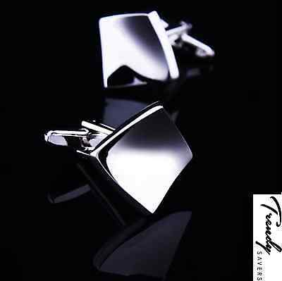 Unique Square Bent Sterling Silver Jewellery Wedding Shirt Cufflinks Pair #27