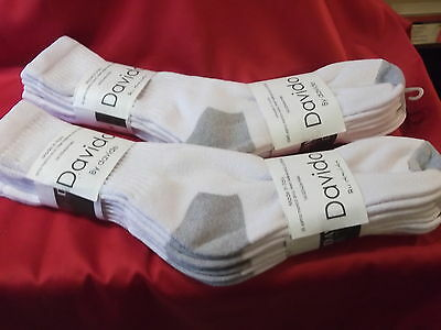 Davido Mens socks crew 100% cotton made in Italy white / gray 6 pairs size 9-11