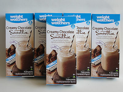 Weight Watchers CREAMY CHOCOLATE Smoothie  Shakes (5) Boxes = 35 Smoothie Shakes