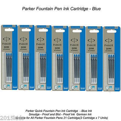 21 Parker Quink Blue Ink Cartridge refill Fountain Pen Frontier Vector - US Sell