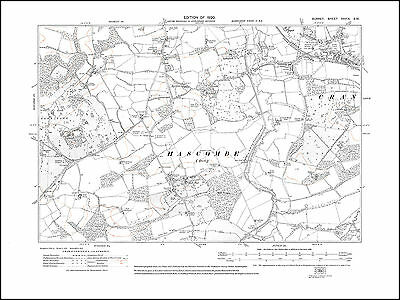 Cranleigh Common in 1920 - old map Surrey 39-SW
