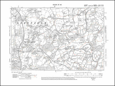 Lingfield (south), Dormans Land, Mutton Hill in 1914 - old map Surrey 43-NW