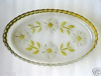 BEAUTIFUL CRYSTAL  Lge  YELLOW/CLEAR SERVING  TRAY VGC
