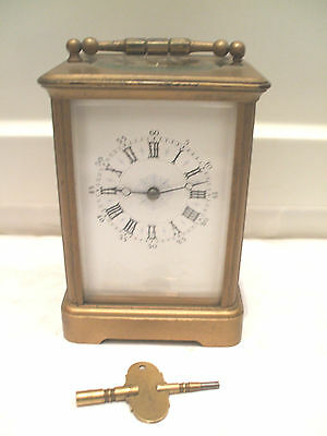 Brass Case French made Enamelled Face Striking Carriage Clock  original case