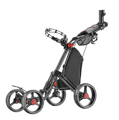 Caddytek Superlite Deluxe Qaud 4 Rad Golf Push Trolley schwarz Neu Modell 2017