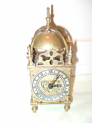 "Brass Case Platform Movement lantern Clock Top Bell  7""H 3""W 3""D GWO"