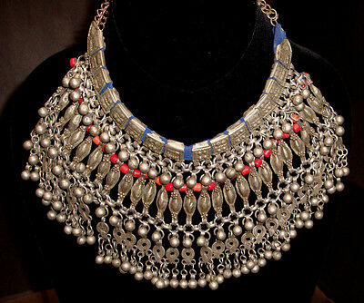Antique Genuine Yemen Silver Headdress / Labba Necklace