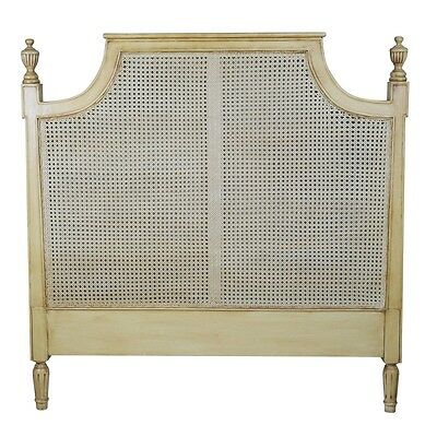 French Rattan Headboard 4ft6 Double bed, Mahogany Frame Country Shabby Chic