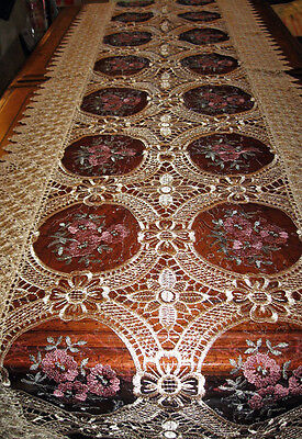 """Vintage Lace Table Runner Dresser Scarf Floral Embroidered Sheer Inserts 16""""x72"""""""