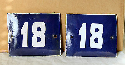 VINTAGE 60`s FRENCH BLUE PORCELAIN ENAMEL SIGN PLATE STREET HOME DOOR NUMBER 18