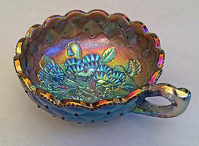 Imperial Carnival Glass Quilted Pansy Nappy Electric Purples Teals Magenta
