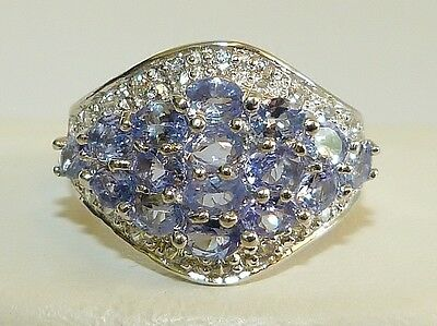 GORGEOUS! RARE 2.72cts! Tanzanite Oval Cut Cluster Ring in Solid S/Silver 925!!