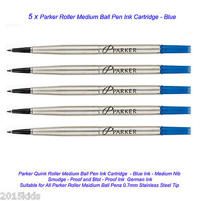 5 Parker Quink Roller Ball Rollerball Pen Refill Medium Nib Blue Ink 11/2018