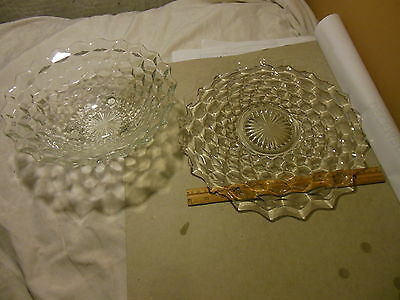 "Vintage Antique Cubist Clear Glass 12"" Platter & Footed Serving Salad Bowl Set"
