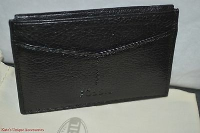 Fossil Brand Black Leather Business Credit Card ID Case Wallet NEW ML3533001 $35