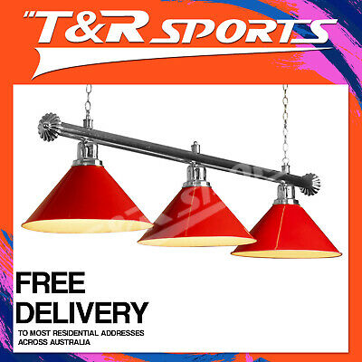 Premium Silver Rail + Red Heavy Duty Shades Pool Table Light Free Deliver