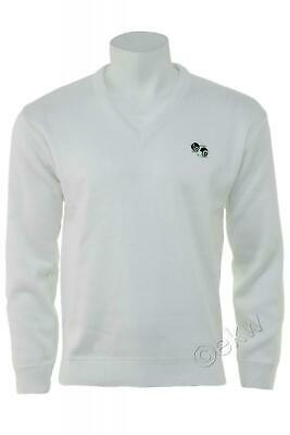 Bowls V-Neck White Jumper with Logo   Lawn Bowling