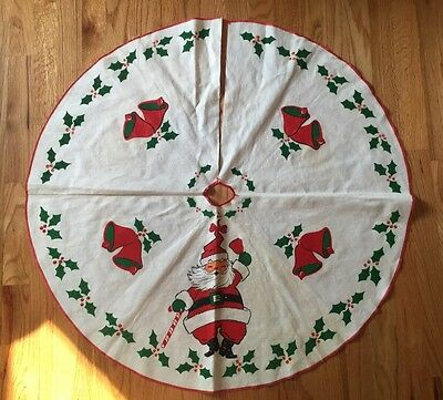 """Vintage  Christmas Tree Skirt 1950's Santa w/ Bells Holly Candy Cane 34.5"""""""