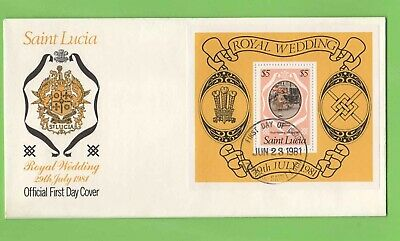 St Lucia 1981 Royal Wedding m/s on Official FDC Castries Cancel