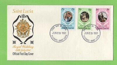St Lucia 1981 Royal Wedding set on Official FDC Castries Cancel