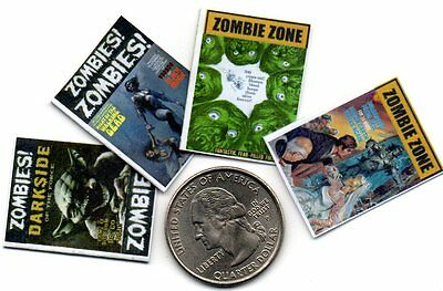 4 Miniature   'ZOMBIE'    MAGAZINES  -  DOLLSHOUSE 1:12 scale