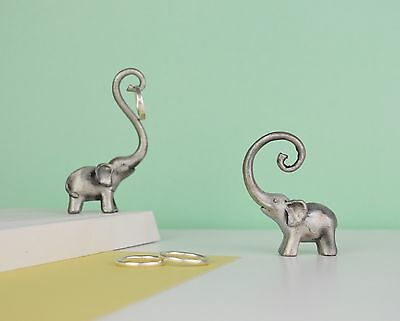 Elephant Ring Stand - Dark Silver Pewter Ring holder - Tree - Dish