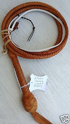 Mustang Riders Bull Whip 8 Foot Long 10 Plait Tan Leather Bullwhip #M8-10P
