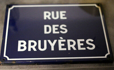 "French Real Enamel Street Sign, Plaque ""rue Des Bruyeres """