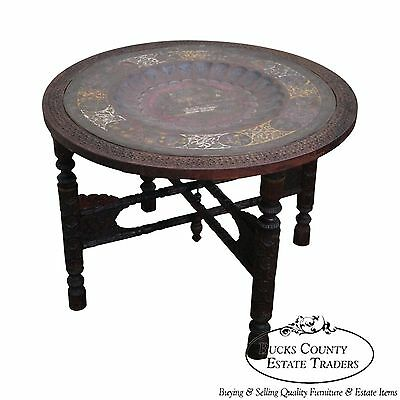 Unusual Carved Wood Base Incised Brass Tray Top Moroccan Coffee Table