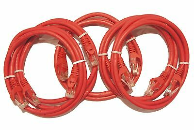 (5) Pack of 3ft red snagless Cat6 Cat 6 ethernet cord patch cables UTP RJ45