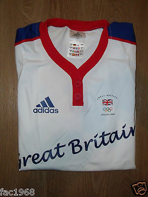 Adidas Team GB Beijing 2008 Olympics Women's T-Shirt Top White UK 12 M New