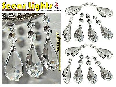 12 Xl Chains Chandelier Drops Glass Crystals Prisms Antique Retro Oblong Ovals