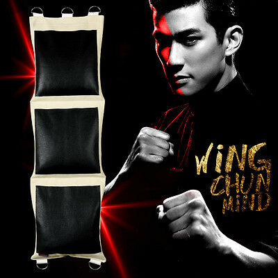 Wing Chun Mind 3 Sections Canvas Punching Wall Bag With Leather Surface Sandbag