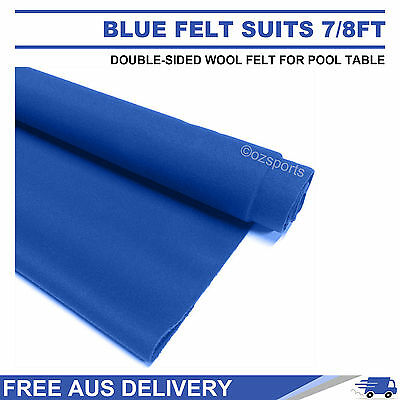 Blue Double-Sided Wool Pool Snooker Table Cloth Felt Suits 7Ft 8Ft Free Postage