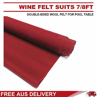 Wine Double-Sided Wool Pool Snooker Table Cloth Felt Suits 7Ft 8Ft Free Postage