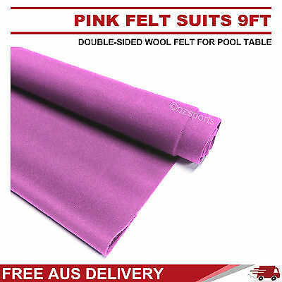 Pink Double-Sided Wool Pool Snooker Table Cloth Felt Suits 9Ft Free Au Delivery