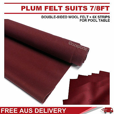 Plum Double-Sided Wool Pool Snooker Table Cloth / Felt+ 6X Strips Suit 7Ft 8Ft