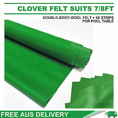 Clover Double-Sided Wool Pool Snooker Table Cloth + 6 X Felt Stripssuit 7Ft 8Ft