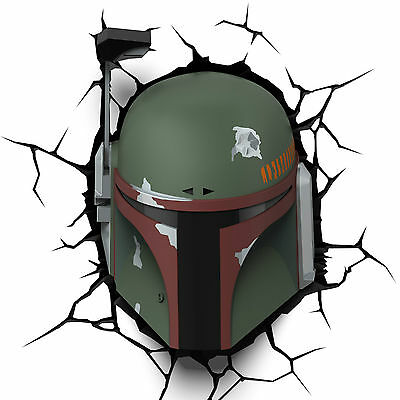 Star Wars Boba Fett Máscara 3d Deco Luz de Pared Led Lámpara Mesilla Fx Disney
