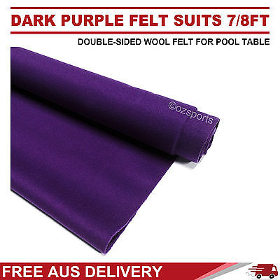 Dark Purple Double-Sided Wool Pool Snooker Table Cloth / Felt Suits 7Ft 8Ft