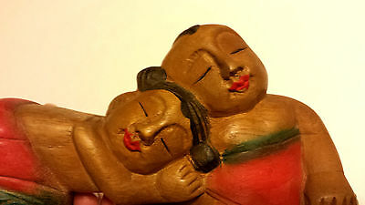 Vintage Hand-Carved Wooden Figure of Two Lovers, Asian - Chinese or Japanese
